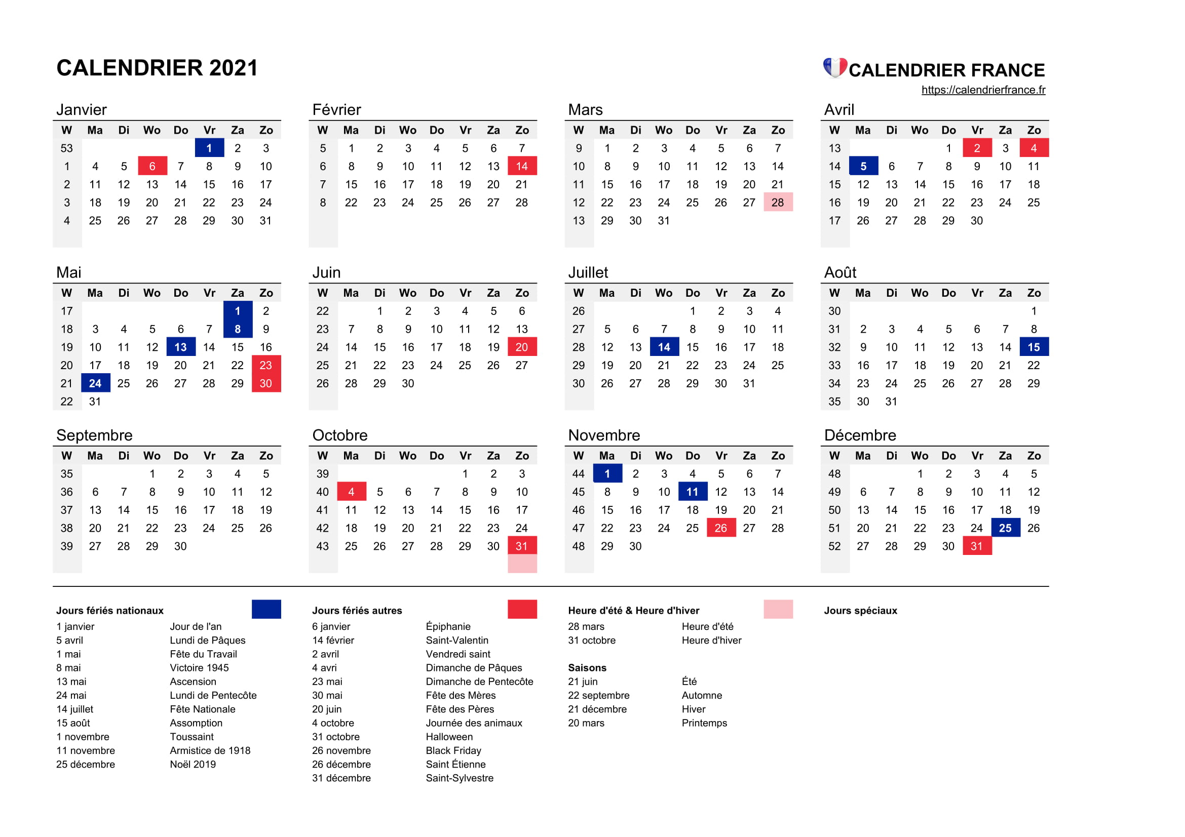 Calendrier 2021 France